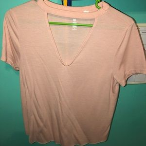 Pacsun Pink V-Neck Cutout Shirt